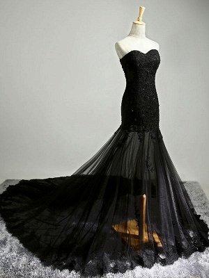 Black Beaded Mermaid Elegant Lace-Applique Sweetheart Prom Dresses_6