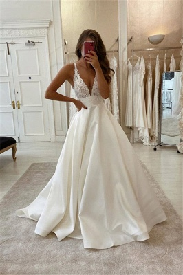 Sexy Straps Deep V Neck Backless Lace A Line Wedding Dresses_1