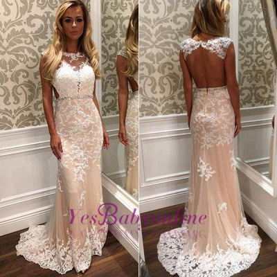 Crystal Open-Back  Gorgeous Long Lace Prom Dress_1