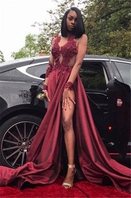 Sexy Sheer Burgundy Prom Dresses | Long Sleeves High Slit Party Gowns_1