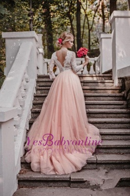Glamorous Long Sleeves V-Neck Pink Tulle Lace A-line Wedding Dresses_1