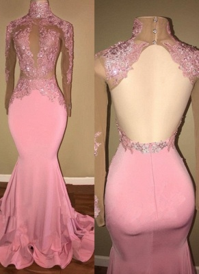 Lace Appliques Mermaid Prom Dresses | Long Sleeves Open Back Evening Gowns_1