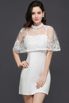 White Cute Two-Piece High-Neck Short Evening Dresses_3