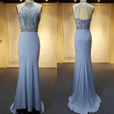 Crystal Sweep-Train Open-Back Blue Halter Sheath Evenig Dresses_3