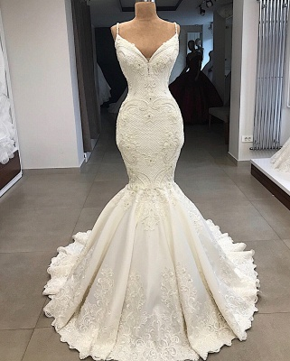 Spaghetti Straps V-neck Sexy Mermaid Detachable Skirt Wedding Dresses_5