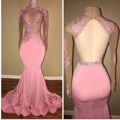 Lace Appliques Mermaid Prom Dresses | Long Sleeves Open Back Evening Gowns_3
