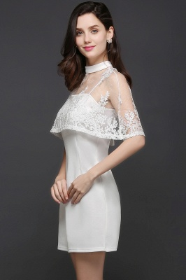 White Cute Two-Piece High-Neck Short Evening Dresses_5