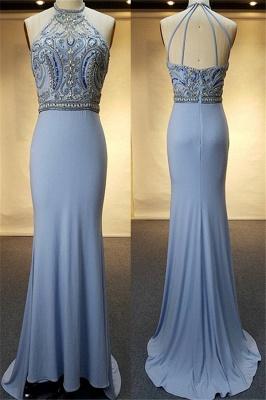 Crystal Sweep-Train Open-Back Blue Halter Sheath Evenig Dresses_2