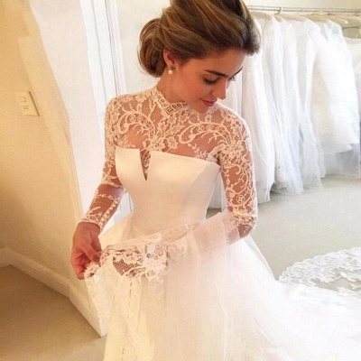 A-line Lace  High-Neck Zipper  Long Sleeves Glamorous Wedding Dress_5