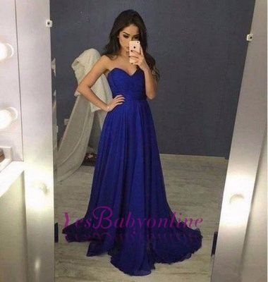 2019 Blue Sweetheart A-Line  Long Prom Dresses_1