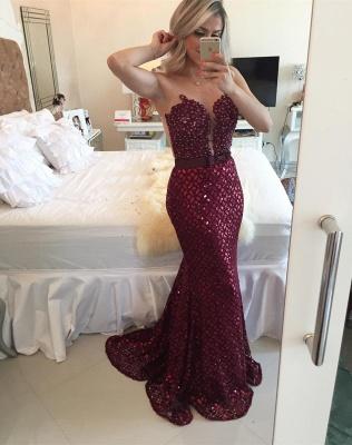Sequined Burgundy Bow Gorgeous Sleeveless Sweep-Train Mermaid Prom Dress_2