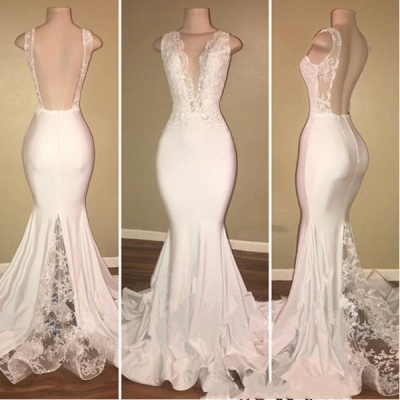 Elegant Sleeveless Long Lace Prom Dresses | V-neck Backless Mermaid Evening Gowns_3