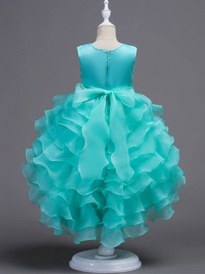 Cute Ball Gown Organza Satin Appliques Layered Ruffles Hi-Lo Flower Girl Dress_3