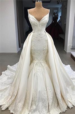 Spaghetti Straps V-neck Sexy Mermaid Detachable Skirt Wedding Dresses_1