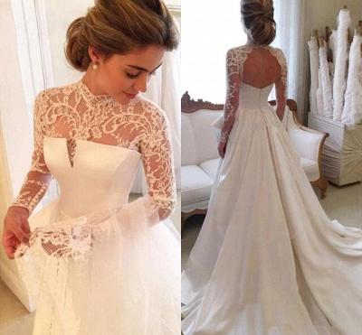 A-line Lace  High-Neck Zipper  Long Sleeves Glamorous Wedding Dress_3