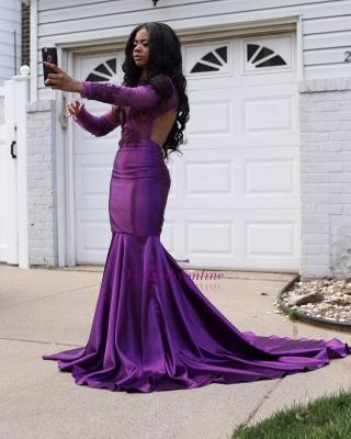 Long Sleeves Lace Mermaid Purple Wedding Dress_1