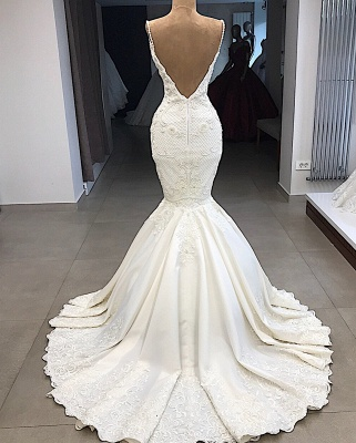 Spaghetti Straps V-neck Sexy Mermaid Detachable Skirt Wedding Dresses_4