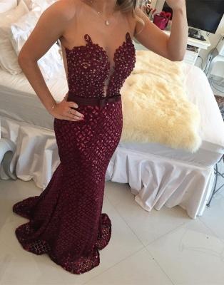 Sequined Burgundy Bow Gorgeous Sleeveless Sweep-Train Mermaid Prom Dress_3