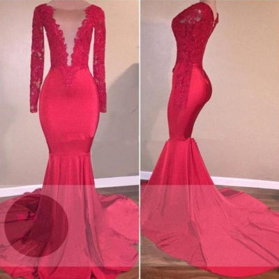 Mermaid Sexy Red Long-Sleeve Lace-Appliques Prom Dress_4