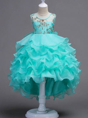Cute Ball Gown Organza Satin Appliques Layered Ruffles Hi-Lo Flower Girl Dress_1