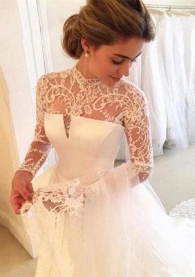 A-line Lace  High-Neck Zipper  Long Sleeves Glamorous Wedding Dress_2