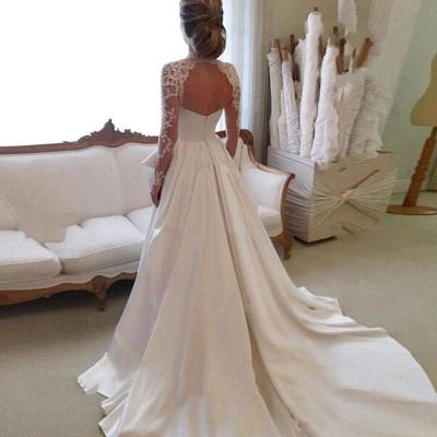 A-line Lace  High-Neck Zipper  Long Sleeves Glamorous Wedding Dress_4