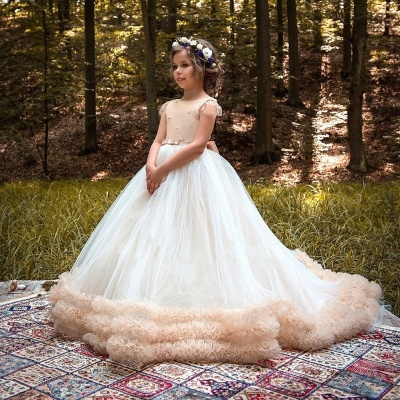 Lovely Ball Gown Short Sleeves Tulle Glower Girl Dresses With Bows_3