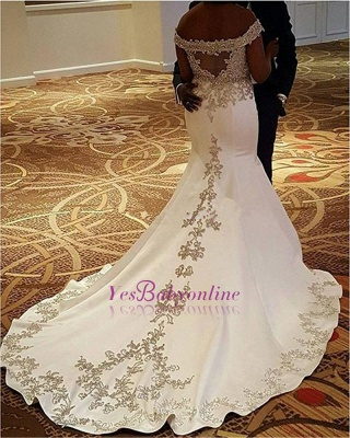 Sexy Off-the-Shoulder Satin Court-Train Mermaid Lace Wedding Dresses_1