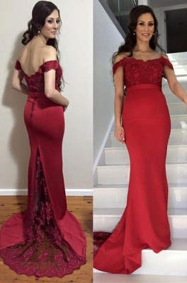 Sweep-Train Maternity Mermaid Newest Lace Zipper Off-the-shoulder Prom Dress_2