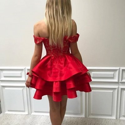 Ruffles Modest Off-the-shoulder Red Short Lace Homecoming Dress_3