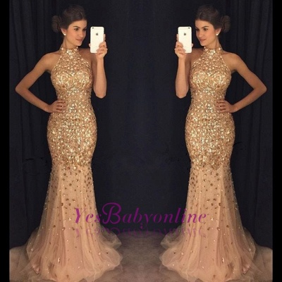 Crystals Sleeveless High-Neck Mermaid Sweep-Train Newest Prom Dress_1