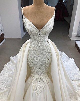 Spaghetti Straps V-neck Sexy Mermaid Detachable Skirt Wedding Dresses_3