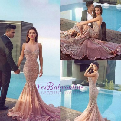 Jewel Sheer Gorgeous Mermaid Sequins Pink Sparkling Sleeveless Evening Dress_1