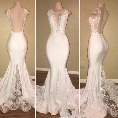 Elegant Sleeveless Long Lace Prom Dresses   V-neck Backless Mermaid Evening Gowns_3