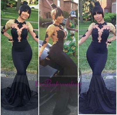 Gold and Black Prom Dresses Long Sleeves Sheer Lace Appliques Mermaid Sexy Evening Gowns_1