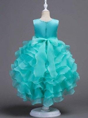 Cute Ball Gown Organza Satin Appliques Layered Ruffles Hi-Lo Flower Girl Dress_3