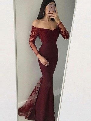 Elegant Long Sleeves Evening Dresses | Mermaid Appliques Prom Dresses_2