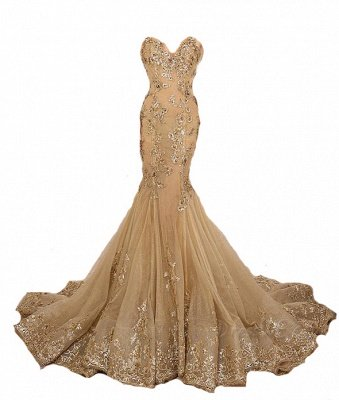 Long Sweetheart-Neck Lace-Appliques Gold Lace-Up Mermaid Prom Dresses_4