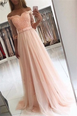 A-line Half-Sleeves Off-the-shoulder Tulle Glamorous Lace Prom Dresses_3