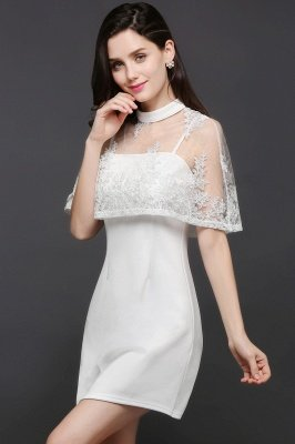 White Cute Two-Piece High-Neck Short Evening Dresses_4