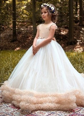 Lovely Ball Gown Short Sleeves Tulle Glower Girl Dresses With Bows_1
