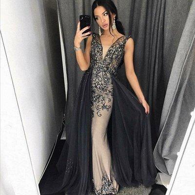 Elegant Mermaid  Beading V-Neck Detachable Prom Dress   Evening Dress_3