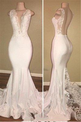 Elegant Sleeveless Long Lace Prom Dresses   V-neck Backless Mermaid Evening Gowns_1