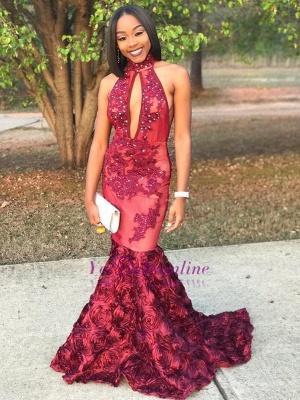 Luxury Lace-Applique Beaded Rose-Flowers Mermaid 3D Prom Dress_1