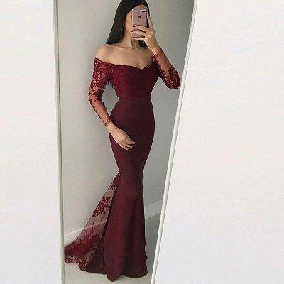 Elegant Long Sleeves Evening Dresses | Mermaid Appliques Prom Dresses_3