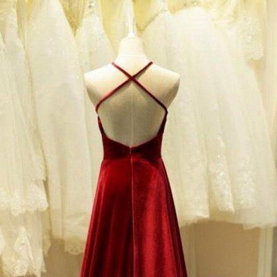 Halter Neck Long Prom Dresses Dark Red Sleeveless Beadings Elegant Evening Dress_3