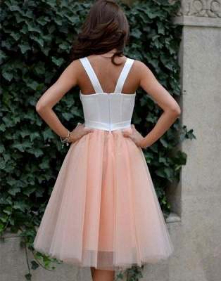 2019 Straps Puffy Party Dresses White Coral Tea Length Short Prom Dresses_3