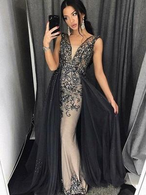 Elegant Mermaid  Beading V-Neck Detachable Prom Dress   Evening Dress_1