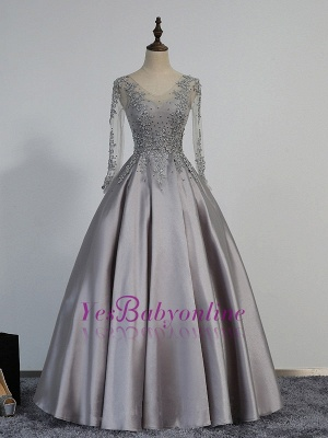 A-line Long-Sleeve Modest Lace-Appliques Beading Prom Dress_1