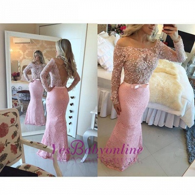 Off-the-Shoulder Lace Pink Pearls Mermaid Long-Sleeves Long Prom Dresses_1